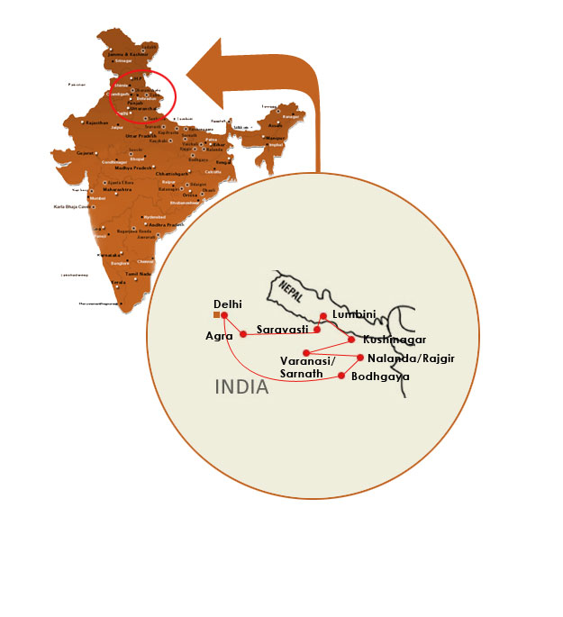 India buddhist pilgrimage map