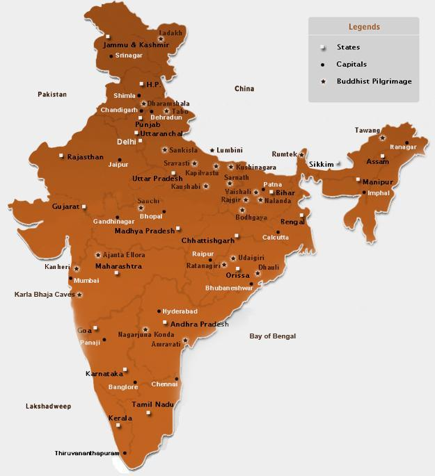India Map Tourist Map Of India Tourism Guide Map Of India